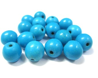 10 blue 8mm synthetic turquoise beads
