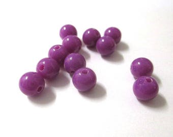 10 purple 6mm acrylic beads