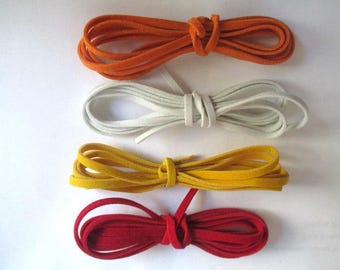 4 x 1 m wool white and red color suede cord yellow and orange