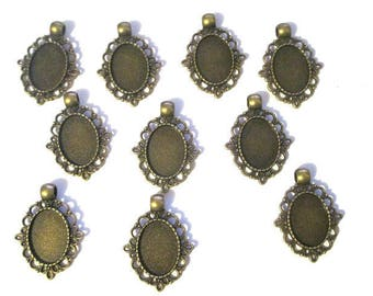 10 support 33x22mm bronze oval cabochon pendants