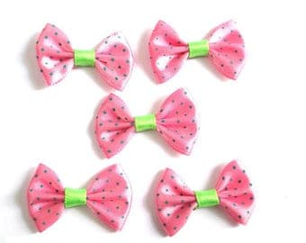 5 applique bow tie pink dot 23x35mm