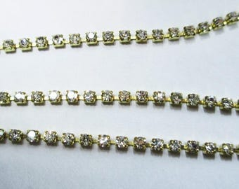 30 cm gold chain Crystal 2 mm crystal color rhinestones