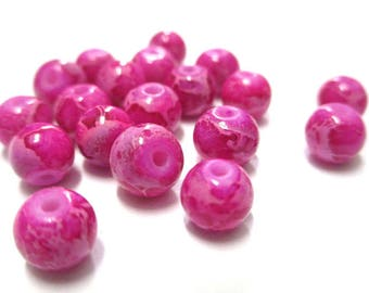 20 pink marbled beads 6mm