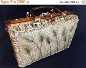 SALE Vintage 1960s Princess Charming Purse 60s Basket Handbag w/ Lucite Handles Sea Oats Tiger Eye Lucite Wicker Gold Metallic Burlap Atlas