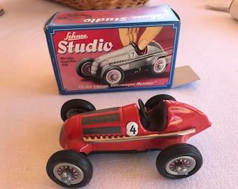 Schuco Studio Grand Prix Car Red Mercedes Grand Prix 1936 Clockwork Race Car #4 MIB