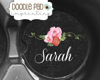 Personalized Car Coaster, Floral Monogram Car Coasters,