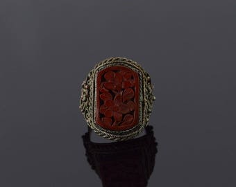 19x13mm Red Cinnabar Chinese China Ring Copper