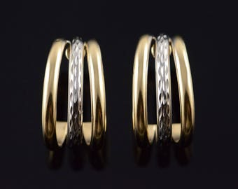 14k Triple Hollow Half Hoop Stud Two Tone Earrings Gold