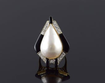 14k Retro 34x24mm Mother of Pearl Black Onyx Stunning Ring Gold