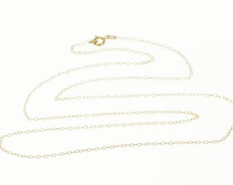 """10k 0.9mm Cable Link Fancy Chain Necklace Gold 18.25"""""""