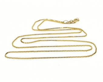 """14k 0.9mm Box Chain Link Necklace Gold 20.75"""""""
