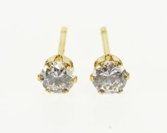 k Round Cubic Zirconia Solitaire Stud Earrings Gold Plated