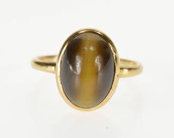 14K Oval Tiger's Eye Bezel Set Cabochon Ring Size 4.25 Yellow Gold