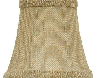 Upgradelights® 4 Inch English Barrel Chandelier Lamp Shade in Natural Burlap