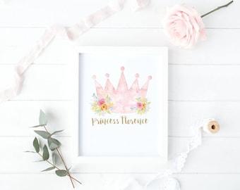 Personalised Princess Crown Girls Nursery Print