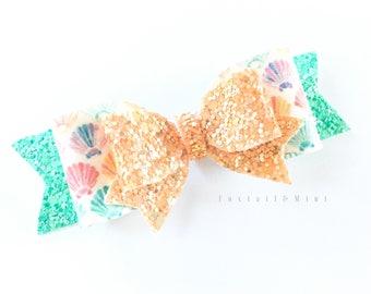 Mermaid Hair Bow, Mermaid Party, Glitter Bow, Birthday Hair Bow, First Birthday Bow, Mermaid Birthday, Seashell Birthday, Summer Birthday