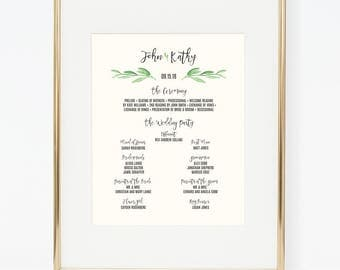 Personalized Printable Greenery Wedding Program Poster
