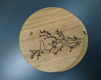 Solid oak coasters - cat in tree & cat hunting butterflies