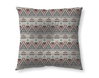 Maroon and Teal Tribal Pattern - floor pillow