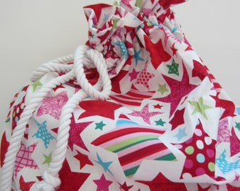 Christmas Santa Sack, Stocking, Bright Star, Kids, Toy Bag, Presents, Gift, Fabric, Red, White, Pink, Unisex