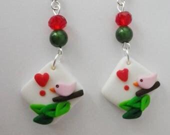 Earrings romantic Bird on a branch original bead