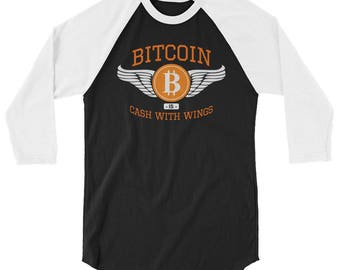 Bitcoin Currency 3/4 sleeve raglan shirt