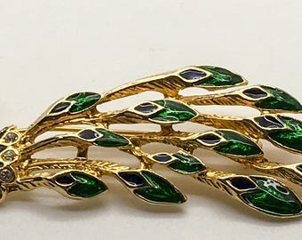 Vintage Enamel Peacock Brooch Gold Tone Blue Green Crystal Clear  Rhinestones  Figural Pin Bird Lover Birthday Anniversary Stocking Stuffer