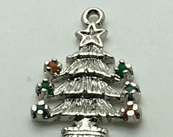 Christmas Tree Sterling Silver Charm  Red Green Pearls Beads Ornaments Lights  Holiday Charm