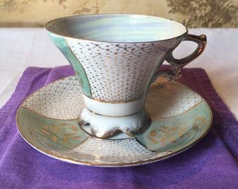 Norleans Meito Green Fish Scale Cup and Saucer with Scalloped Foot, Vintage