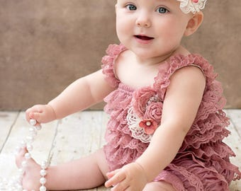 Baby Toddler Girls Lace Romper, Petti Romper, Newborn Romper, Baby Girls Outfit, Girls Birthday Outfit, Dusty Pink Lace Romper