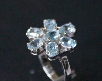 ON SALE Elegant Blue Topaz Silver Ring