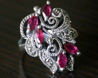 ON SALE Elegant Ruby Marcasite Silver Ring