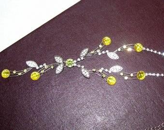 Silver czech necklace,vintage necklace,green necklace