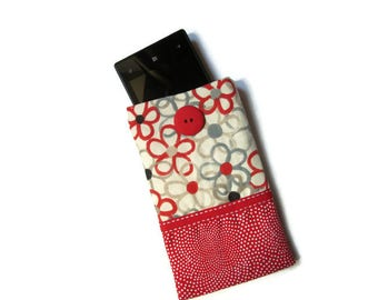 cover, wallet, cell phone case, red, white, gray fabric