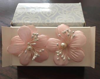 Avon Fabric Blossom Pierced Earrings