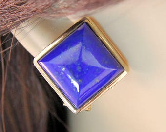 Estate Pair 14K Yellow Gold Lapis Lazuli Bold Omega Back Earrings 20.82 Carats 8.49 Grams Mother's Day