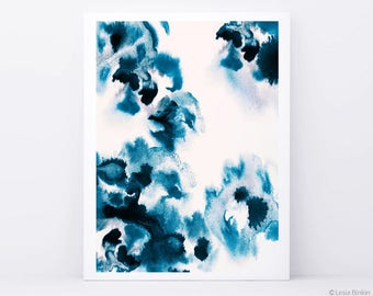 Watercolor abstract painting, abstract painting, indigo abstract painting, blue abstract art, watercolor abstract art,  by Lesia Binkin