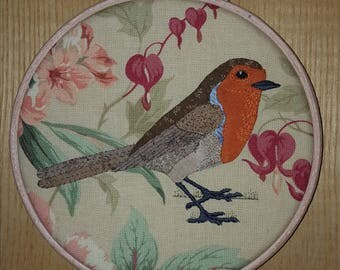 Embroidered applique robin
