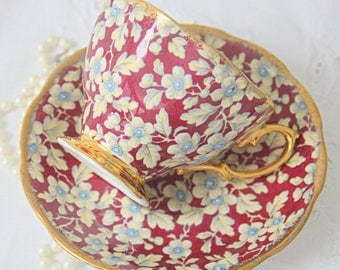 Vintage Royal Albert Chintz Cup and Saucer, Gentleman Size, England