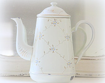 Vintage Enamel Teapot, Coffeepot with Delicate Gold and Blue Flower Decor
