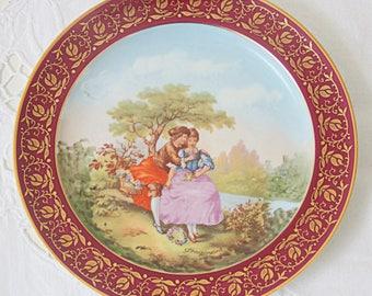 Set of Two Vintage Limoges Porcelain Plates with Fragonard Decor, France