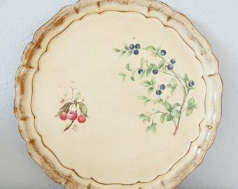 Vintage Florentine Wooden Serving Tray, Botanical Design, Blueberries and Cherries