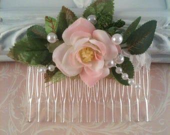 Hair Combs, Pink Rose Flower Hair Comb Set of 6, Bridal Bridesmaids Hair Combs, Hair Accessories, Decorative Combs, Victorian Garden Wedding