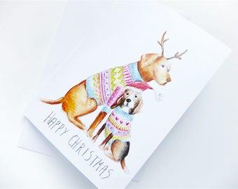Happy Christmas card. Vizsla. Beagle. Blank card. Merry Christmas