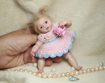 Candy - Ready to ship - OOAK Polymer clay Baby - Art doll Hand sculpted by the artist - Realistic mini baby girl 6 inches size