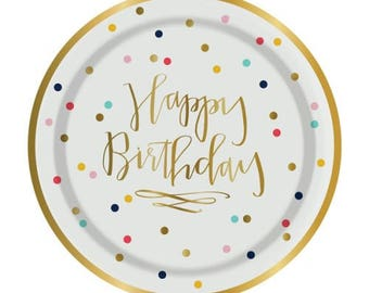 Happy Birthday Party Plates with Gold Foil - Set of 8 Polka Dot Paper Plates with Gold Foil Lettering & Trim (by Slant Collections)