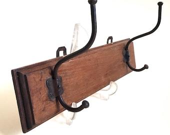 Coat Rack. Wood Coat Rack. Coat Hanger. Wall Hooks. Vintage Coat Hook. Hat Rack. Industrial Decor. Porte manteau. Patère. French Vintage