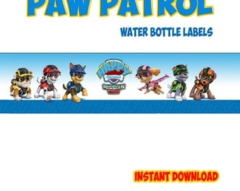 PAW PATROL Water Bottle Labels Ready to Print - Instant Download