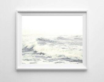 Ocean Waves Photography, PRINTABLE art, Coastal decor, Ocean waves wall art, Large wall art, Ocean decor, Ocean print, stormy waves