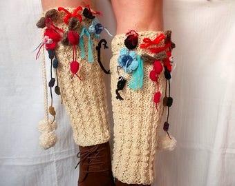 LEG WARMERS POMPOMS / Women Accessories Hand Knitted Winter Warm Elegant Foot / Crochet Romantic Feminine Gift Ideas Fashion Chic Legwarmers